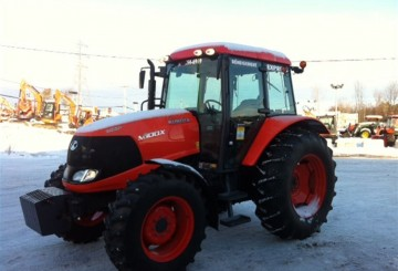 100hp Kubota Tractor with forks, bucket, slasher, hay spears, baler