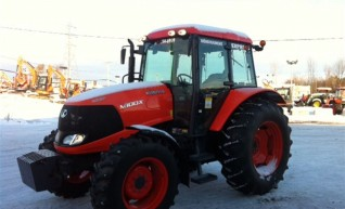 100hp Kubota Tractor with forks, bucket, slasher, hay spears, baler 1