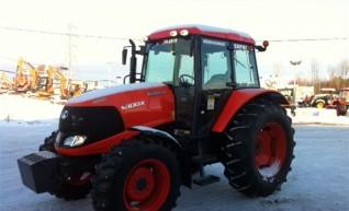 100hp Kubota Tractor with forks, bucket, slasher, hay spears, baler 1