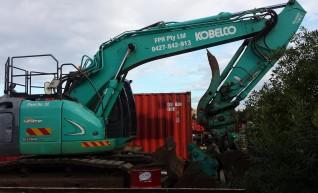 14T Kobelco Excavator w/mulching head 1