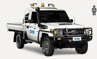 4WD Single Cab, Tray Ute (Hilux or similar), mine equipped.         1