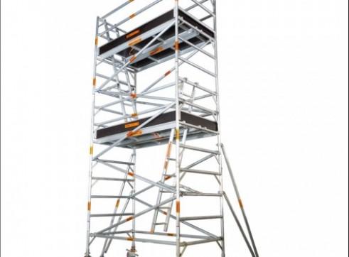 Double Width Aluminium Mobile Scaffold - Platform Height: 6.2m Extends 6.6m 1