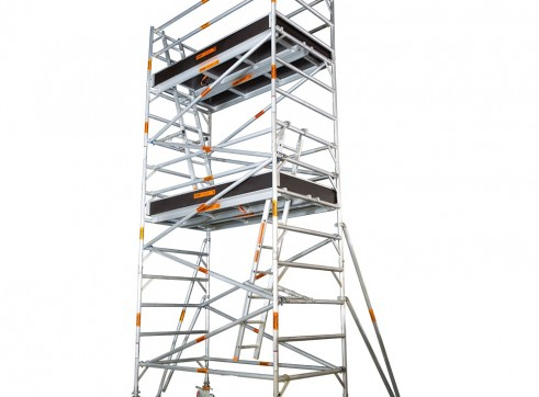 Double Width Aluminium Mobile Scaffold - Platform Height: 6.2m Extends to 6 1