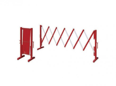 Heavy Duty Expanding Barrier - Red & White 2.5m 1