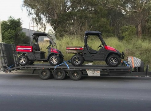 Ute with Tri-Axle Beavertail Trailer - 6m deck - 3T Carry Capacity 1