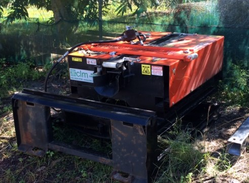Wombat Cable Pusher set up on a Skid Steer 4 in 1 frame 1